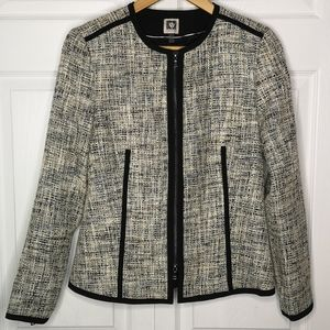 Anne Klein Tweed Zip Front Blazer Jacket